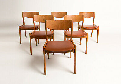 Mid Century Dining Chairs Oak & Leather Danish 1950's Vintage Retro Teak