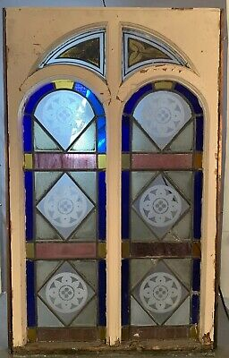 19thC Antique VICTORIAN Cathedral ARCH Old SNOWFLAKE Leaded STAINED GLASS WINDOW