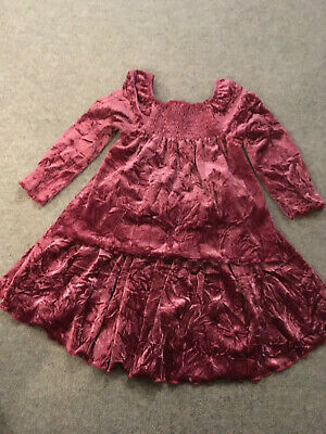 NEXT pink crushed velvet velour skirt & top 2 piece Age 3-4 years Xmas worn once