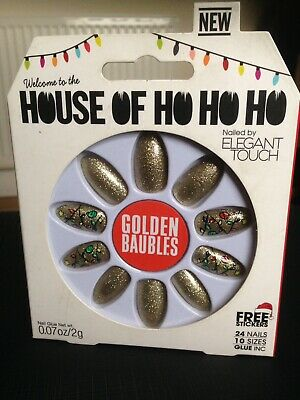 Elegant Touch House Of Holland Ho Ho Ho Golden Bauble False Glue /Stick On Nails