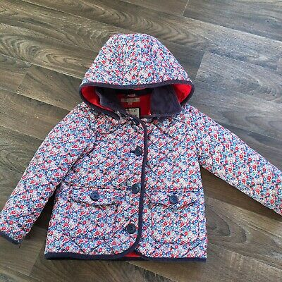 Marks And Spencers Girls Coat Jacket Age 3-4 Years Navy Blue Red Floral Quilted