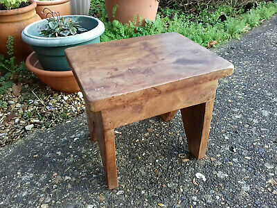 Lovely Vintage Old Rustic Elm Solid Wood Small Stool