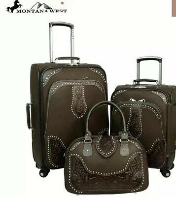 Montana West Tooled Leather Collection 3 PC Luggage Set-Coffee