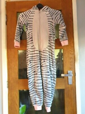 Girls Lovely Soft Fleece HoodedZebra All in One Pyjamas Age 8-9 Years by George