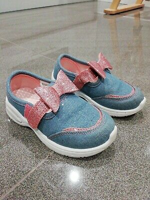 TU Girls Denim Canvas Trainers With Pink Glitter Bows - Sz Infant 7