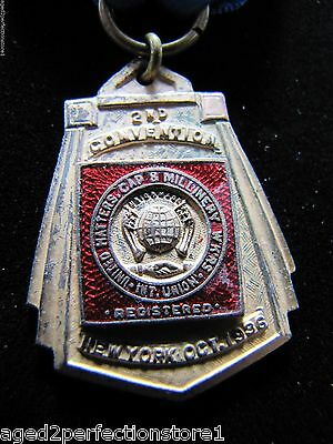1936 UNITED HATTERS CAP & MILLINERY Union Convention NY Delegate Medallion