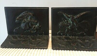 Antique Barye solid Bronze Hunting Eagle Bookends cast by GRIFFOUL NJ