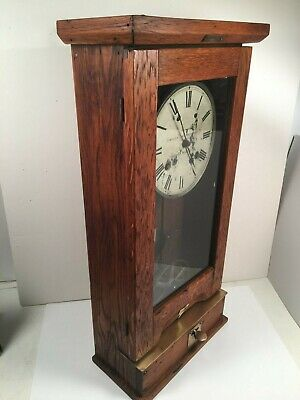 "Antique Oak ""Simplex Time Recorder Co."" Commercial/ Indust. Punch Clock Works!"