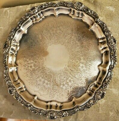 """Vintage; POOLE Round Footed Silverplate Tray OLD ENGLISH 12"""" - Excellent - 3209"""