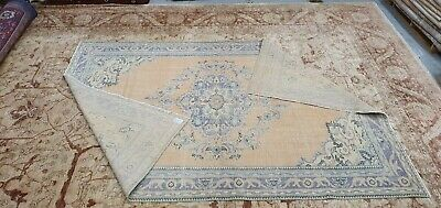 Antique 1930-1940's Wool Pile Natural Dye Distressed Oushak Area Rug 7x10ft