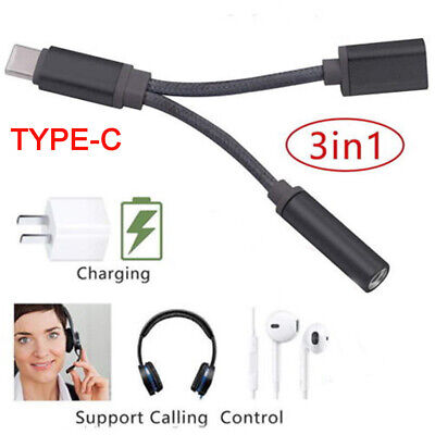 USB-C Type C To 3.5mm Aux Audio Charging Cable Headphone Adapter Splitter Jack
