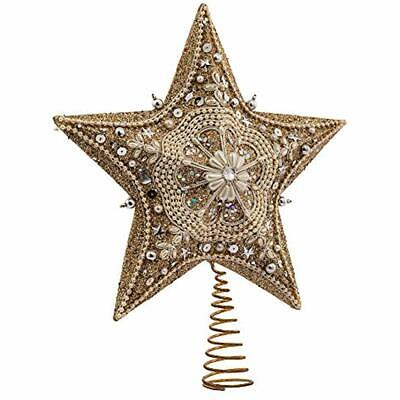13.5-inch Tree Toppers Star Treetop With Ivory Pearls And Platinum Glass Glitter