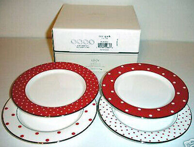 Kate Spade Larabee Road RED Tidbit Party Plate Set of 4 Polka Dots New in Box