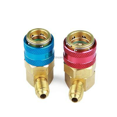 CarBole R134a A//C Manifold Gauge Conversion Kit High Low Quick Adapter Pair ACME