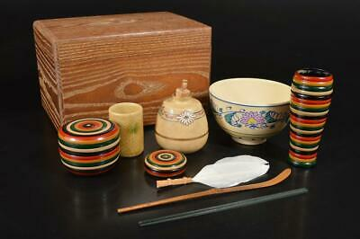 A3340: Japanese Wooden TEA CEREMONY BOX Chabako Bowl Tea caddy