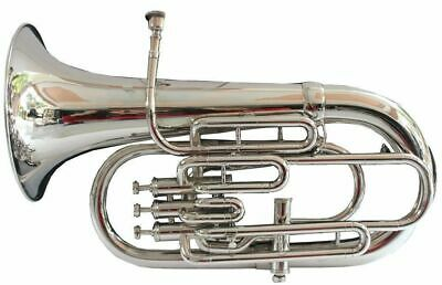 BRAND NEW SILVER Bb/F 4 VALVE EUPHONIUM+FREE HARD CASE+MOUTHPIEC