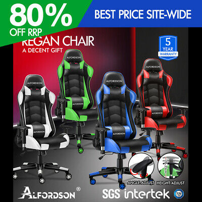 ALFORDSON Gaming Chair Office Executive Racing Seat PU Leather Computer REGAN