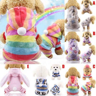 Flannel Dog Jumpsuit Winter Clothes Small Puppy Coat Pet Outfits Hoodie Jumper