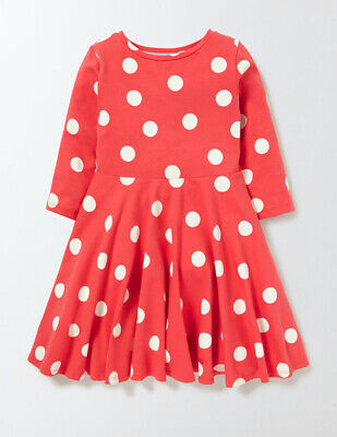 Mini Boden Girls Jersey Ballerina Dress (Red Confetti Spot) Age 9-10 VGC