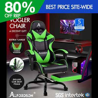 ALFORDSON Gaming Chair Office Executive Racing Footrest Seat PU Leather Green