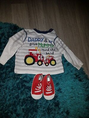 baby boys long sleeve top and shoes age 3-6 months
