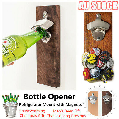 Wall Mounted Bottle Opener with Magnetic Cap Catcher Beer Wooden Refrigerator