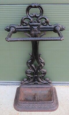 Antique Victorian Cast Iron Umbrella Stick Stand with Drip Tray by Carron