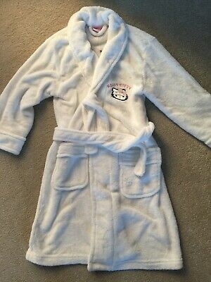 Girls White Hello Kitty Dressing Gown. Size Medium (approx 8-9)