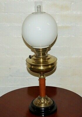 Beautiful Antique Victorian Brass And Oak Complete Oil Lamp
