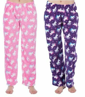 Girls Childrens Unicorn Fleece Loungepants Pyjama Bottoms Nightwear