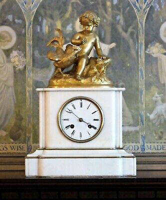 Antique Japy French Marble & Ormolu Striking Mantel Clock, Cherub, Working Well