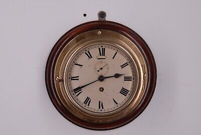 Ships Clock Antique Bulkhead Clock Swiss Made Brass And Wood Mount  6 Inch Face