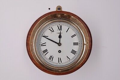 Ships Clock Antique Bulkhead Clock Made In England Brass And Wood Mount