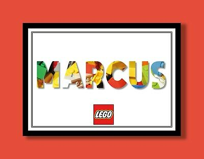Personalised Lego Brick Name Wall Art Print Poster Ideal Gift A4 Children's Room