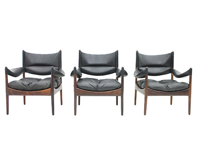 1of3 Danish High Back Lounge Chairs by Kristian Solmer Vedel, 1963 Sessel Leder