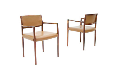 One of Two Danish Armchairs in Cognac Brown Leather, 60s 60er Stuhl