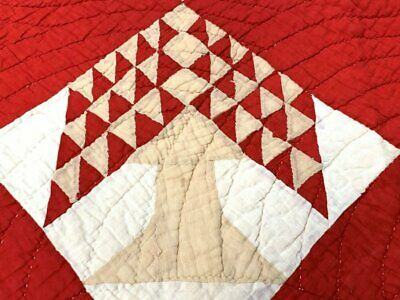 Solids! c 1900 Tree of Life QUILT Antique Turkey Red