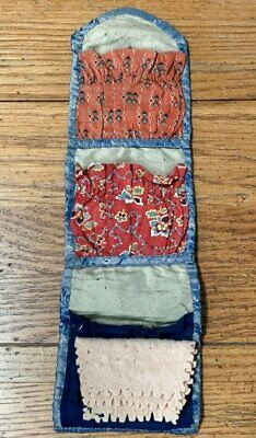 Early Antique c 1850s Sewing Roll Up Pennsylvania Turkey Red