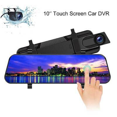 10'' Dual Lens HD1080P Car DVR Dash Cam Touch Screen Night Vision G-Sensor