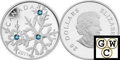 2011 'Montana Small Crystal Snowflake' Proof $20 Silver Coin .9999 Fine (12876)