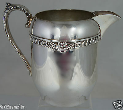 Vintage Silver Plate On Copper Water/Wine Pitcher W/ Ice Lip Embossed