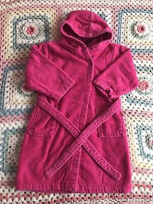 Jojo Maman Bebe Girls Toweling Dressing Gown 2-3 years Pink Very Good Condition
