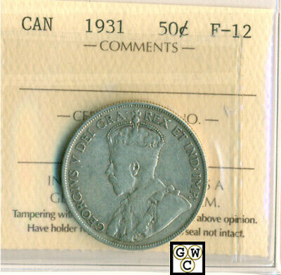 ICCS Canada 1931  50cents Coin ; F-12 ; Certification No- PJ 839 ; LHM