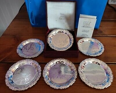 6  Embossed Silver Plated CREA Coasters Milano Italy in Velvet Box w/Certificate