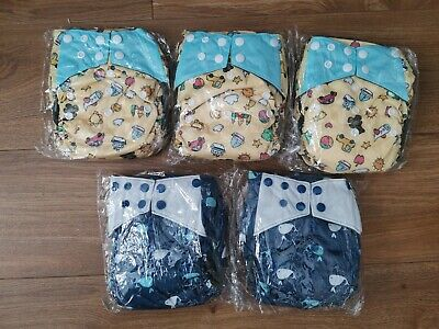 5 x Reusable bamboo charcoal nappies with sewn in inserts (birth to potty)
