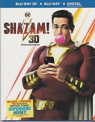 SHAZAM! 3D BLU-RAY & BLURAY & DIGITAL SET with Zachary Levi & Jack Dylan Grazer