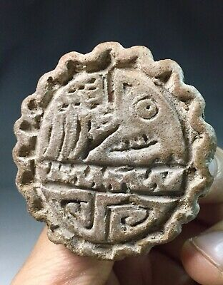 Ancient Pre Columbian Jamacoaque Indian Pottery Seal Stamp Sello S. America