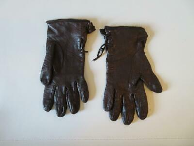 Womens Bloomingdales Brown Laced Leather Gloves Sz 6.5 *