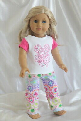 Dress Pajamas fits 18inch American Girl Doll Clothes Lot Outfit T-Shirt Pants