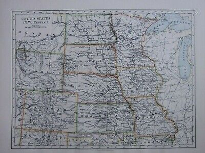 1895 Victorian Map United States North West Central Colorado Kansas Wyoming